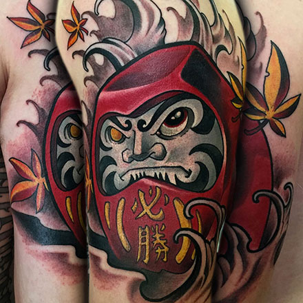 Daruma Doll Sleeve Tattoo