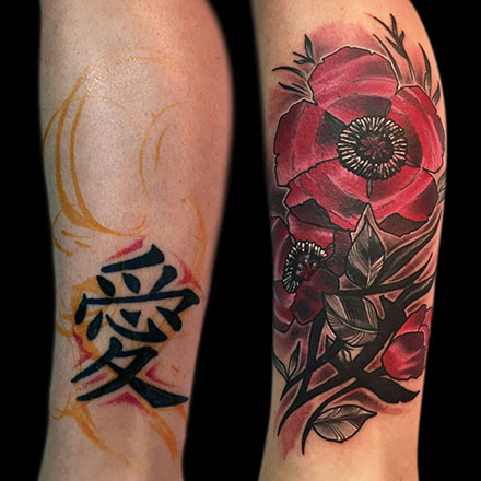 Flower Kanji Coverup Tattoo