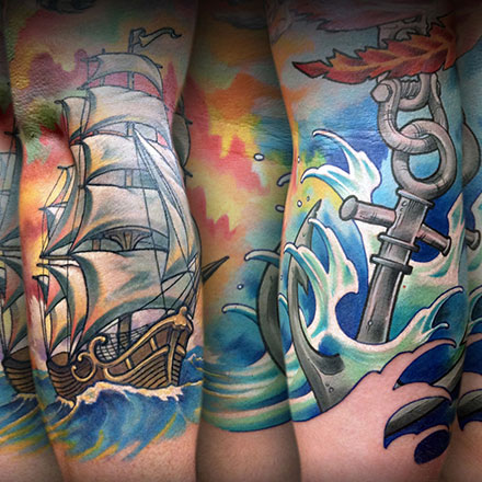 Pirate Ship Sunset Tattoo